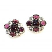Garnet clip-on earrings