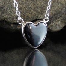 Entia Hematite heart necklace