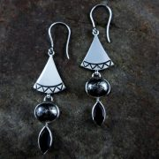 Entia Pyrite Smokey Quartz earrings