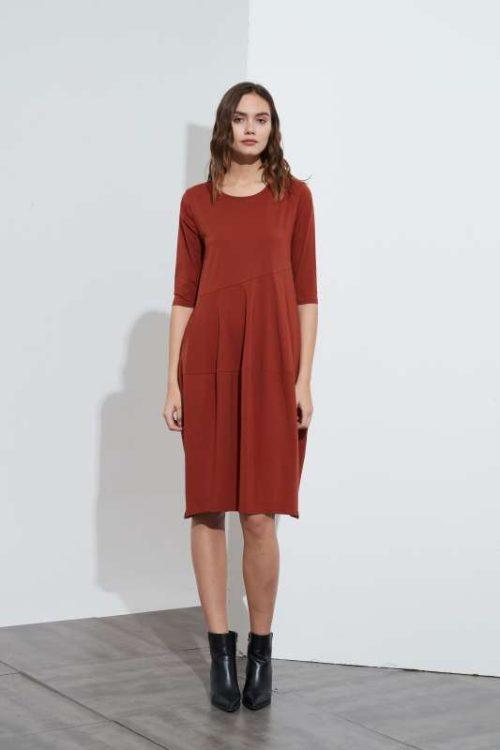 3/4 Sleeve Diagonal Seam Dress Rust