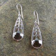 Entia Smokey Quartz tear drop earrings