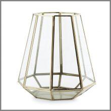 Gold Glass hurricane Lantern