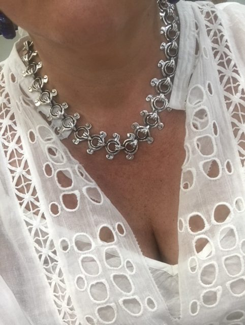 Mexican Silver Circle and curls Necklace
