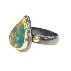 Anatolia Iranian Turquoise Ring pear shape