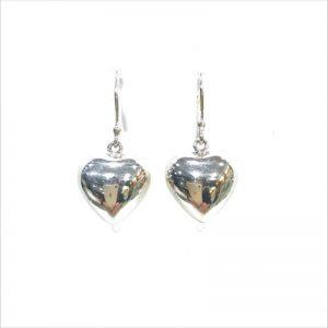 Ironclay silver puffed heart earrings ppa473