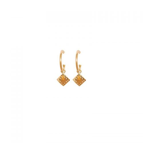 Murkani Hoop diamond pendant earrings Gold plate