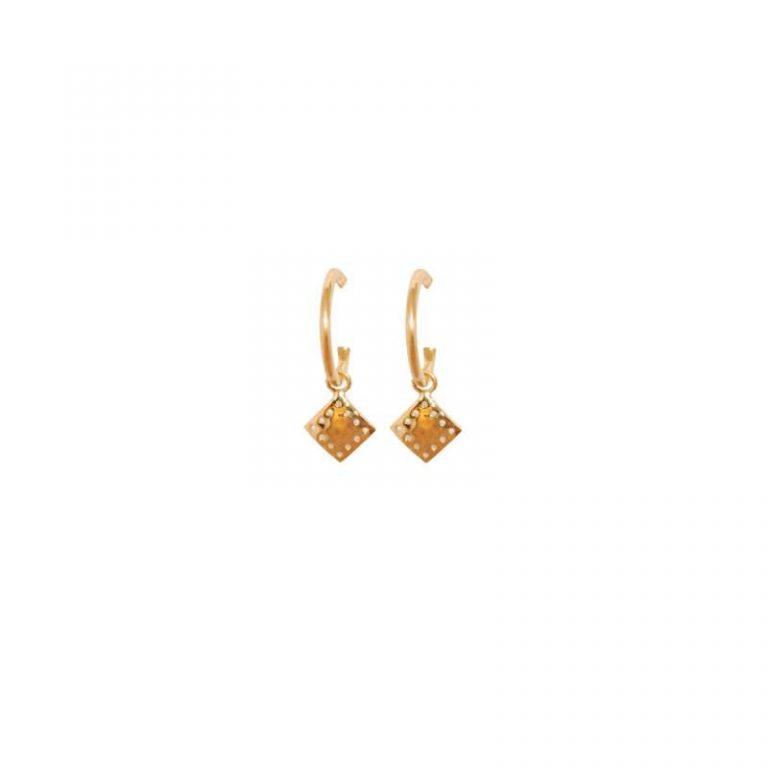 Murkani Hoop diamond pendant earrings Gold plate
