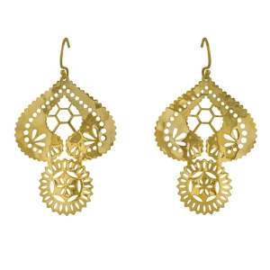 Murkani Lace Doily earrings Gold