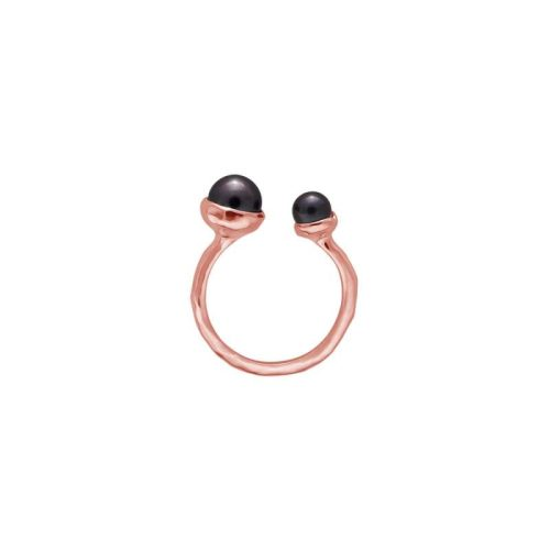 Murkani Double Pearl Ring Rose with Black Pearl