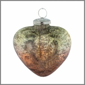 Horgans glass Orange heart bauble