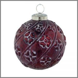 Horgans glass Red flower round bauble