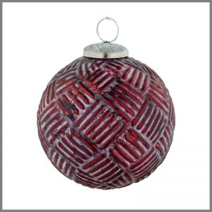 Horgans glass Red knit round bauble