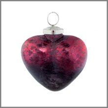 Horgans glass Red heart bauble