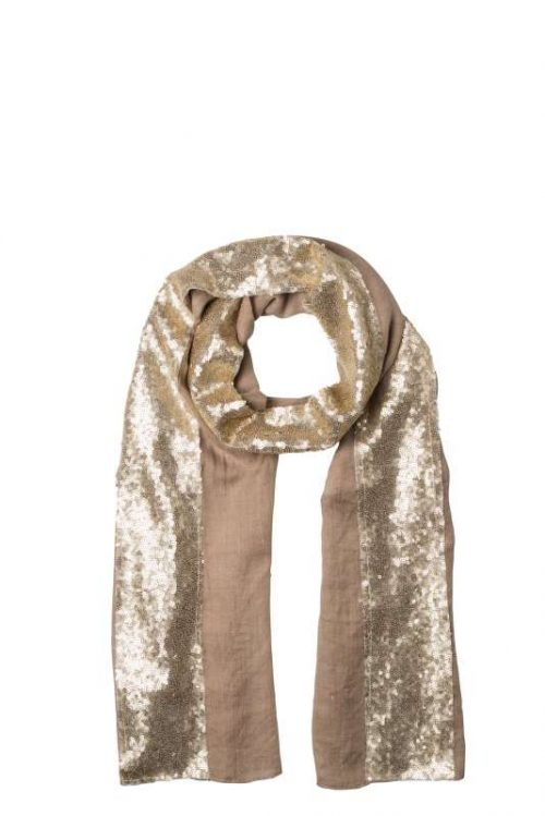 Noosa Living Sequin Panel Scarf Tan