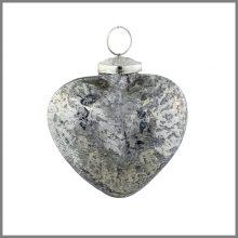 Horgans glass Silver heart bauble