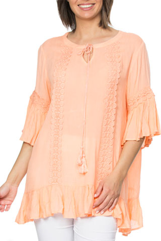 Threadz Lace trim kaftan peach