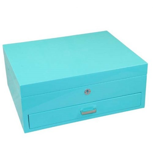 Aqua gloss medium jewellery box