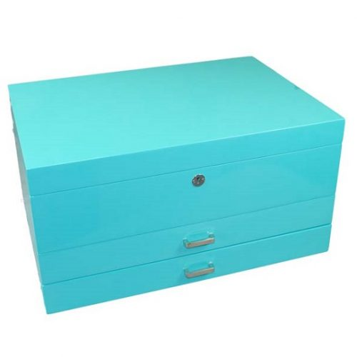 Aqua gloss large jewellery box