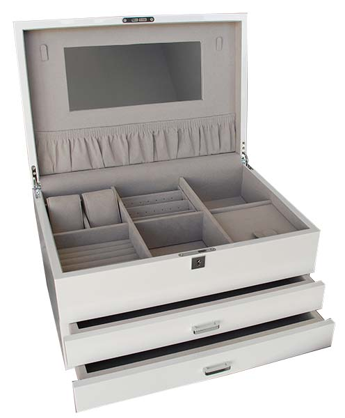 White gloss large jewellery box