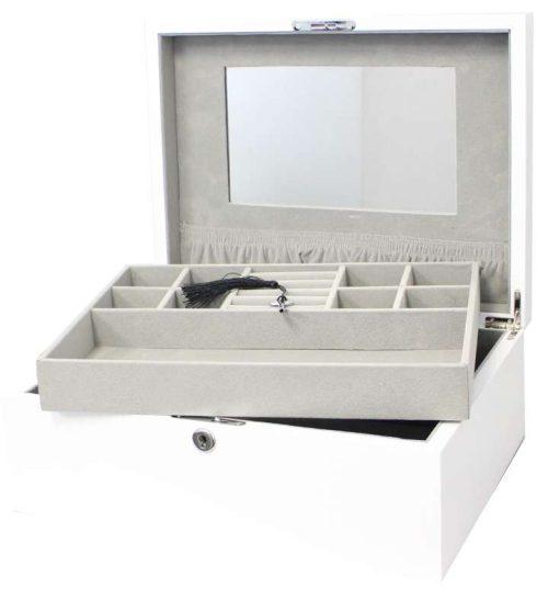 WHITE GLOSS JEWELLERY BOX
