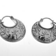 Ironclay Mexican Silver basket hoop earring a9176