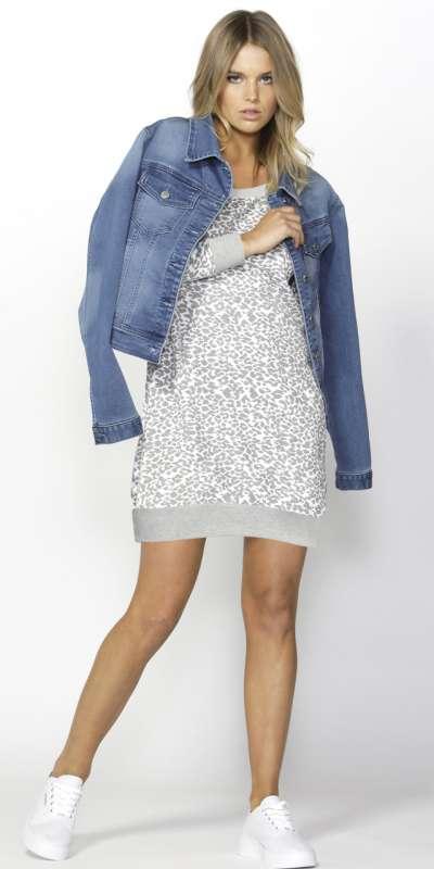 Betty Basics Zeke Sweater Dress Leopard